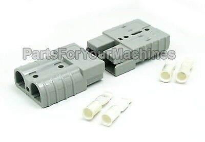 2 CONNECTORS w/CONTACTS #8AWG, 50A, ANDERSON, SMALL GRAY, LESTER CHARGERS, RV