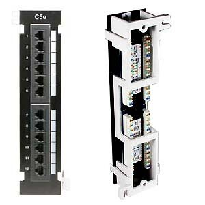 FIVE New 12 Port Cat5e Wall Mount Surface Patch Panels