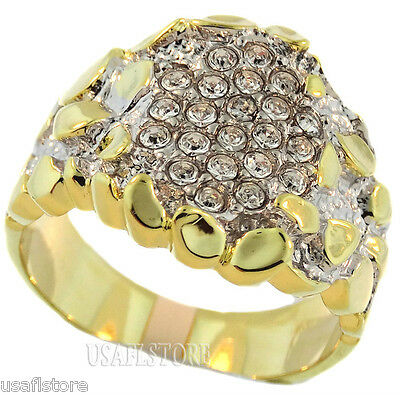 Multiple CZ Pave 18kt Gold Plated Mens Fashion Ring New