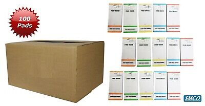 100 SMCO Food Restaurant Order Pads Numbered 1-100 5 Colours BF84 Tear Off slip