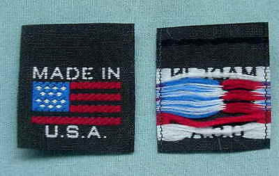 100 Woven Clothing Labels Made In U.s.a. American Flag
