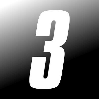 3 inch tall White Race Number 3 racing numbers decals