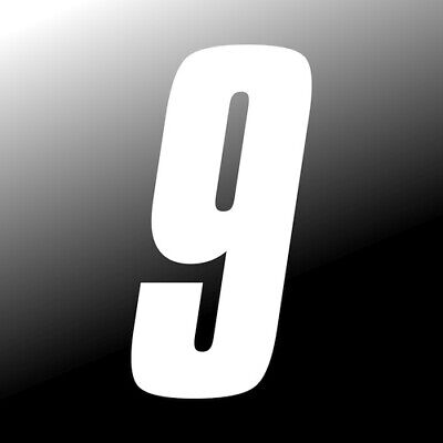 3 inch tall White Race Number 9 racing numbers decals