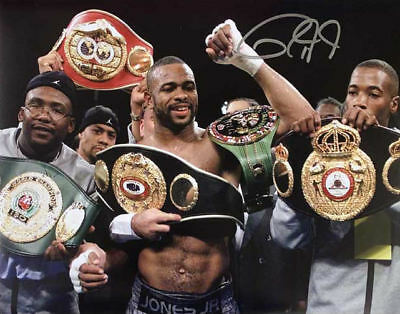 "ROY JONES JUNIOR SIGNED 16""x12"" BOXING PHOTOGRAPH SEE PROOF WORLD CHAMPION"