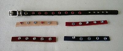 """#DC51*LOT OF 5 """"BLING"""" Real Leather KITTEN /CAT Collar"""
