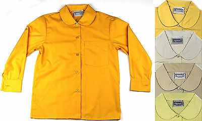 Girls Peter Pan Long Sleeve School Shirt Many Sizes & Colours Lemon White Sky