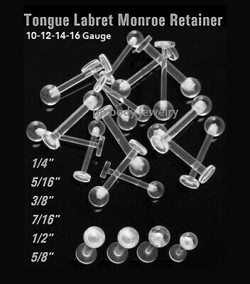 "16g 14g,10g, 12g~1/4"" to 5/8"" Clear Ball Labret/Monroe Tongue Barbell Retainer"