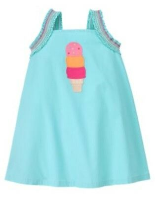 GYMBOREE POPSICLE PARTY BLUE w/  ICE CREAM WOVEN DRESS 3 6 12 18 24 2T 4T NWT