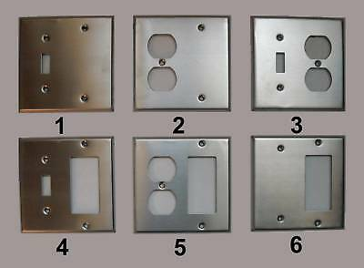 2 Gang Combo Switch Duplex Decora Combination Stainless Steel Wall Cover Plate