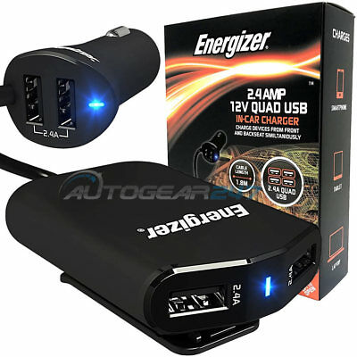 Energizer 50528 12v 24v Lighter Car Truck 2.4A Quad 4 USB Multi Socket Adapter