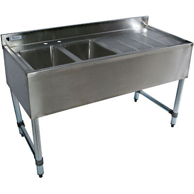 """Stainless Steel Bar Sink 48"""" 2 Compartment Right Drain"""