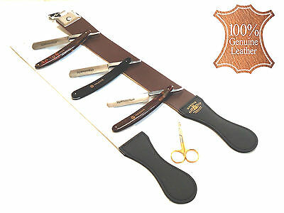 Mens Old School Vintage Barber Ready to Shave Razors WITH Shaping Strop Kit NEW