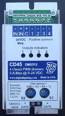 CD45,DMX decoder 4 LED PWM dimmer decoder 8 A. 12-24 VDC RGB / RGBW  Made in USA