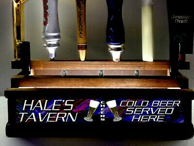 """Personalized /"""" COLD BEER ON TAP/""""  neon font 18 BEER tap handle display BLACK"""
