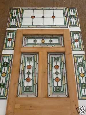 Victorian Edwardian Original 5 Panel Exterior Front Door With Transom