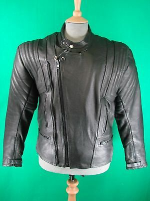 CLASSIC VINTAGE 1980's BLACK LEATHER BIKER JACKET 40 IN