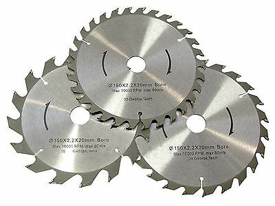 3Piece 150mm TCT Circular Saw Blades with Adapter Rings