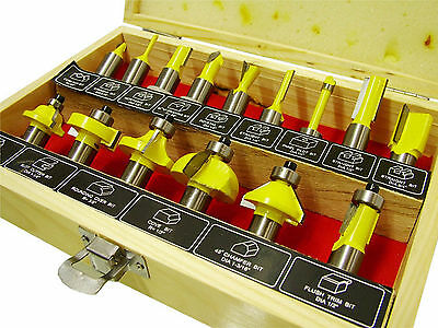 "15 Piece TCT Tipped Router Bit Set with 1/2"" inch shank"