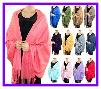 NEW Solid Silk Pashmina Shawl Wrap Stole Cashmere Scarf