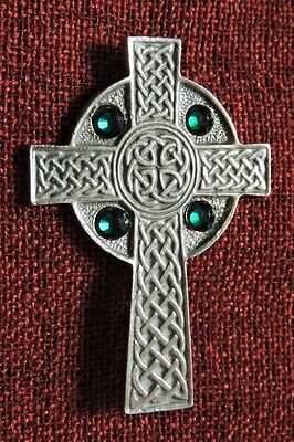 Celtic Cross Swarovski Crystal Irish Medieval Iona Ireland Silver Pewter Brooch