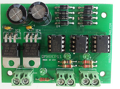 DMX control signal repeater splitter amplifier optically isolated 1 to 1