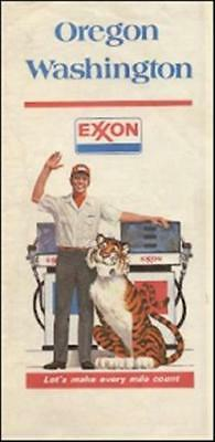 1976 EXXON OIL Tiger Road Map OREGON WASHINGTON Seattle