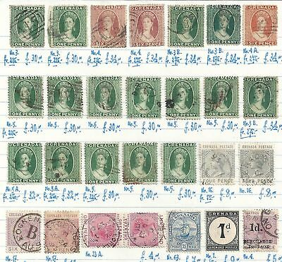 Grenada classic selection of 27 stamps CANC  High Value