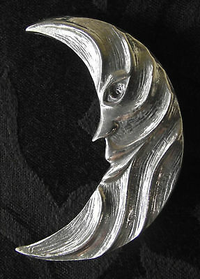 Moon Face Celtic Pagan Medieval Silver Pewter Brooch