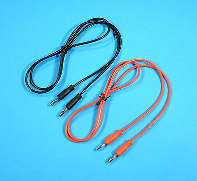 2 x 1m, 4mm Test Leads Plug to Plug Banana Patch Cable