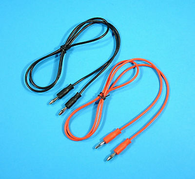 2x 1m, 4mm Test Leads Plug to Plug Banana Patch Cable Red & Black