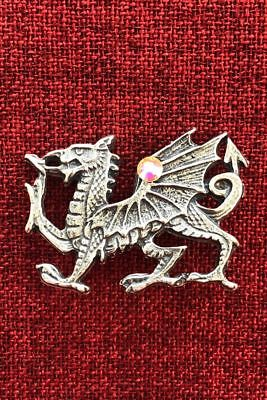 Welsh Dragon Brooch Celtic Wales King Arthur Medieval Knight Crystal Pewter