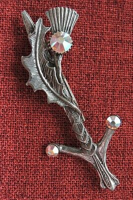 Scottish Thistle Brooch Celtic Scotland Iona Medieval SCA Crystal Silver Pewter