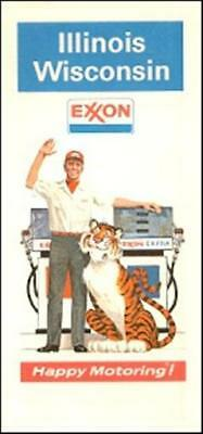 1974 EXXON Tiger Road Map ILLINOIS WISCONSIN Milwaukee