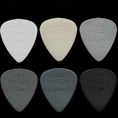 6 Dunlop Nylon Standard Guitar Picks / Plectrums - 1 Of Each Type