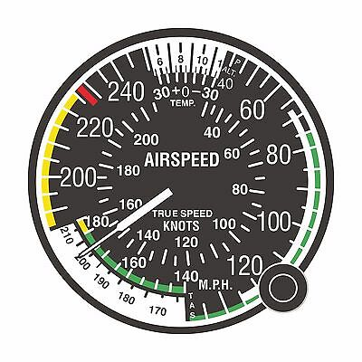 1x Sticker Airspeed Indicator FAA Air Force for Bumper Laptop Locker Tablet Car