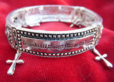 """CHRISTIAN STRETCH BIBLE BRACELET-""""I can do all things."""""""