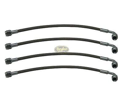 #4 Steel Braided Brake Lines -4 AN 90 degree hose brakeline 4 PACK brakelines