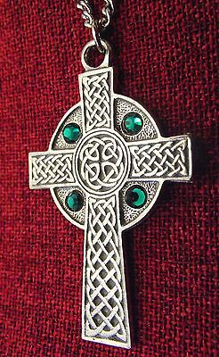 Celtic Cross Pendant Emerald Crystal Irish Gift Silver Pewter Necklace
