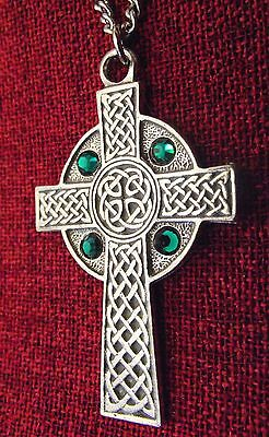 Celtic Cross Pendant Emerald Swarovski Crystal Irish Gift Silver Pewter Necklace