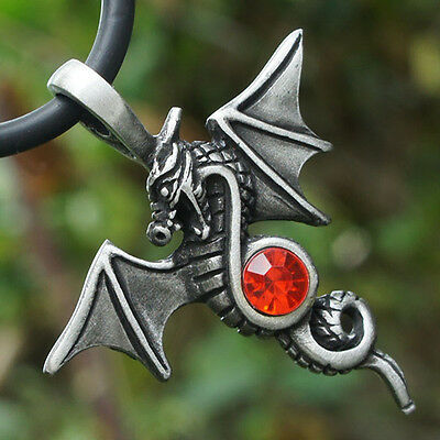 Celtic Norse Winged Midevil dragon embedding w imitation Crystal Pewter Pendant