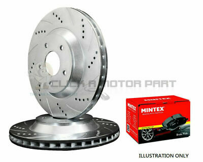 for SUBARU IMPREZA WRX P1 TURBO FRONT DRILLED GROOVED BRAKE DISCS & MINTEX PADS