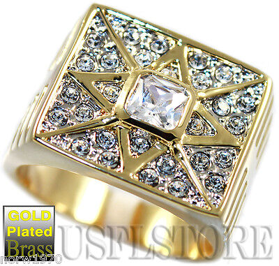 Mens 18kt Gold Plated Square Stone Star Fashion Ring