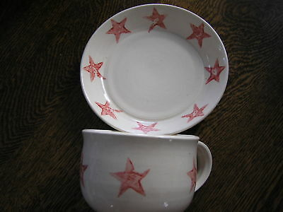 Cream w/ Red STAR Pottery PLATE & XL MUG Set~~Picket Pottery New Baltimore, NY