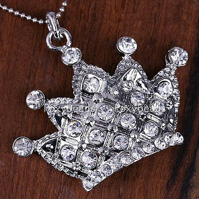 1p Clear Crystal CROWN Silver Plate Pendant Bead for Necklace DIY Gift fb