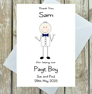 Thank You Page Boy Personalised Card Wedding Day Multi Bow Tie Colour A5