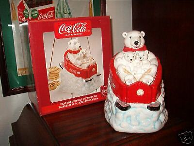 Coca Cola (Coke) Cookie Jar  Polar Bear Downhill - Nib