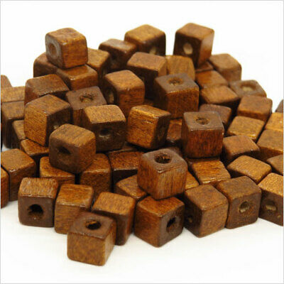 Lot de 100 Perles Cubes en Bois 6mm Marron