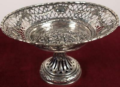 Old Antique German Silver Footed Fruit Serving Center Piece Platter Plate Dish