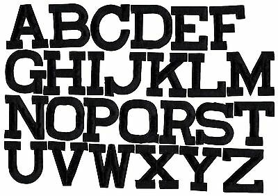 """BLACK - 2"""" Alphabet/Letters - your choice - Iron on Applique/Embroidered Patch"""