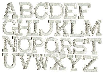 """Iron on Embroidered Alphabet Letters SILVER your choice 2"""" Tall"""